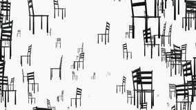 Rotating chairs in black on white. In backgrounds stock video