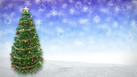 Rotating Christmas tree on blue winter background. 3D render.seamless loop stock video footage