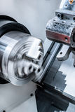 Rotating chuck of CNC lathe. Royalty Free Stock Photo