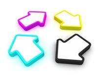 Rotating CMYK arrows Stock Photography