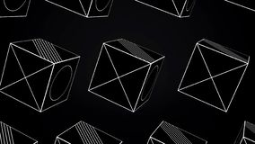 Rotating Cubes Animation - Looping. Animation rotating cubes of white lines on black background.  vector illustration