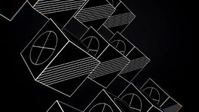 Rotating Cubes Animation - Looping. Animation rotating cubes of white lines on black background.  royalty free illustration