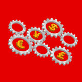Rotating 3D gears with currency symbols inside Royalty Free Stock Photo