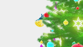 Rotating decorated christmas tree on white background Close-up. Close-up of the shiny colorful decoration on the Christmas tree rotating on a white background stock video