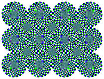 Rotating diamond wheels motion illusion. The wheels with blue and green diamonds seem to move clockwise when moving the eyes from one to another. Called Royalty Free Stock Image