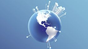 Rotating earth with dancing pins showing cities. 3D rendering. stock video