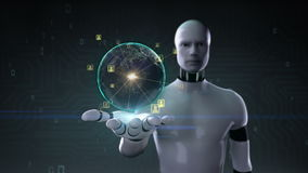 Rotating earth, expanding social network service, media on robot cyborg palm, hand, robot arm,
