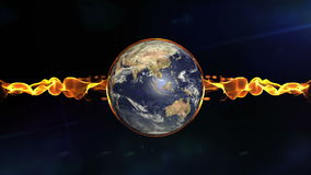 Rotating Earth and flare fire stock footage
