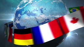 Rotating Earth with gather world flags stock footage