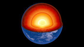 Rotating Earth revealing inner core structure stock video