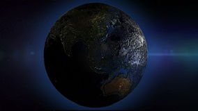 Rotating Earth Seamless Loop, earth surface is rough bumped 3d look. Blue glow outer boarder. HD 1080 stock footage