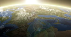 Rotating Earth with Sunrise - Europe stock illustration