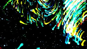 Abstract cosmic elementary electromagnetic field of rotating particles close-up on a background of stars. Festive decoration of a