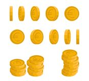 Rotating Euro coin vector. Vector icons of Euro coin at different angles. Concept of a rotating coin Stock Photo