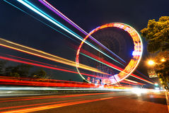 Rotating Ferris wheel Stock Images