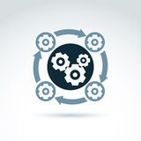 Rotating gears and cogs system theme icon, vector Stock Images