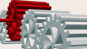Rotating gears in white and red on white stock video footage