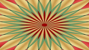 Rotating geometric patterned object in vintage style. Circle changing colors approach and delay stock video footage