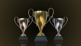 Rotating Gold, silver and bronze Trophy Cup. 3D illustration
