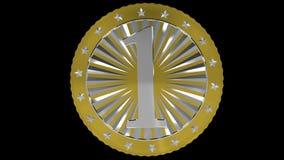 Rotating golden bitcoin vector illustration
