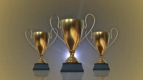Rotating Golden Trophy Cups. 3D illustration
