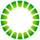 Rotating green arrows point inwards / inside. Abstract shape wit Stock Photos