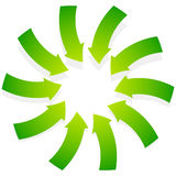 Rotating green arrows point inwards / inside. Abstract shape wit Royalty Free Stock Image