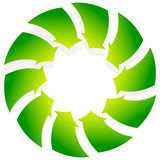 Rotating green arrows point inwards / inside. Abstract shape wit Royalty Free Stock Images