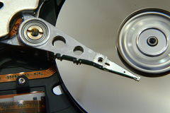 Rotating Harddisk. Closeup of a rotating harddisk drive memory disc royalty free stock photography