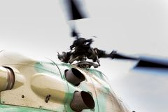 Rotating helicopter propeller blades. Rotating rotor of the helicopter close-up stock images
