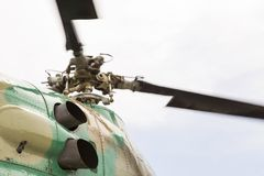 Rotating helicopter propeller blades. Rotating rotor of the helicopter close-up stock image