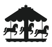 Rotating Horses Merry-Go-Round Carousel Black Icon. Rotating horses merry-go-round carousel black silhouette vector illustration isolated on white background Royalty Free Stock Images