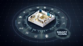 Rotating House design, smart home, around various internet of things home appliances icon. stock illustration