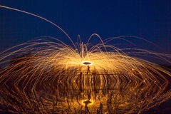 Rotating lights. Rotating fire works with plenty of sparks Stock Photos