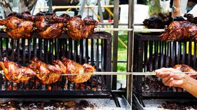 Rotating machine are grilled chicken Royalty Free Stock Photo