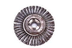 Rotating metal brush or grinding disk Royalty Free Stock Image