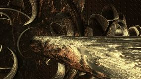 Rotating Metal gears in dark rust color stock footage