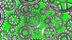 Rotating metal gears loop. Animated rotating metal gears loop stock footage