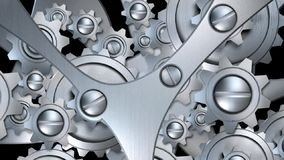 Rotating metal gears machinery stock video footage