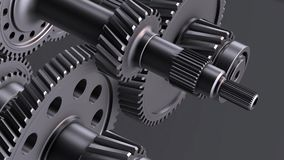 Rotating metal gears, shafts and bearings. Abstract Gearbox Concept. Rotating metal gears, shafts and bearings on black background. 3D illustration video stock illustration