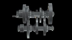 Rotating metal gears, shafts and bearings. Abstract Gearbox Concept. Rotating metal gears, shafts and bearings on black background. 3D illustration video vector illustration