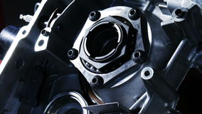 Rotating of metal parts in a mechanical device. Spinning mechanism of car engine stock footage