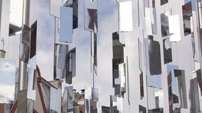 Rotating mirrors. Monument to Christmas tree in Riga stock footage