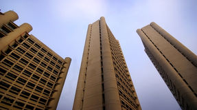 Rotating modern high-rises Stock Photo