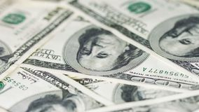 Rotating money in large denominations. United States dollars Stock Photography