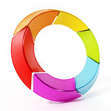 Rotating multi colored arrows forming a circle. 3D illustration.  Royalty Free Stock Photos