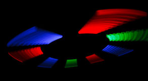Rotating multicolored blinking LEDs mark Royalty Free Stock Image