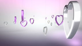Rotating pink heart shaped ring. As background video stock video footage