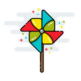 Rotating pinwheel toy colorful line isolated vector style Royalty Free Stock Photography