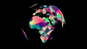 Rotating Polygonal Multicolored Globe. Seamless Looped Animation with Alpha-Matte. 4K vector illustration